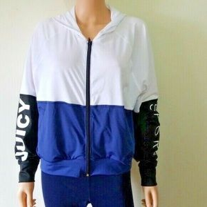 Juicy Couture White/Navy Sport Track Jacket sz L